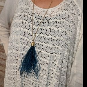 New J. Crew Blue feather Gold tone necklace